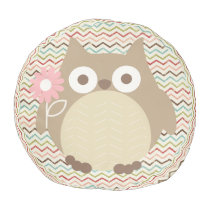 Whimsical Owl Colorful Grunge Chevron Pattern Pouf