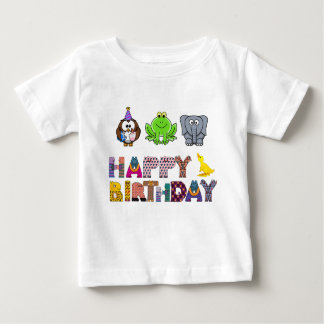 Whimsical Owl Frog Elephant Duck Happy Brithday T Shirts
