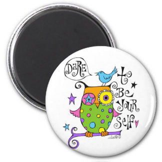 Whimsical Owl Illustration 2 Inch Round Magnet
