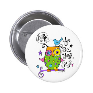 Whimsical Owl Illustration Buttons