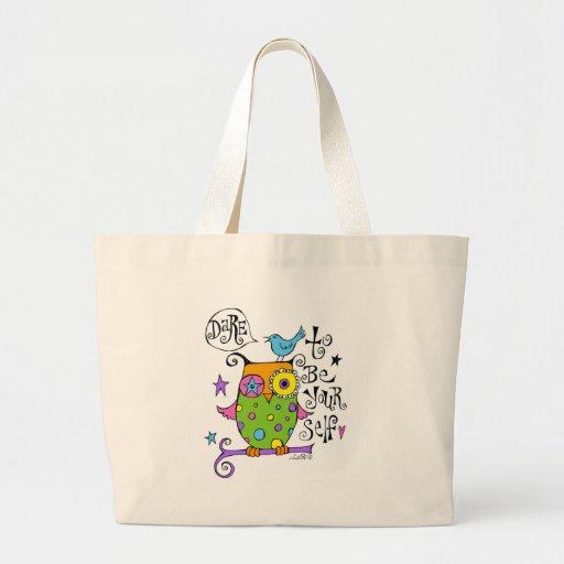Whimsical Owl Illustration Jumbo Tote Bag