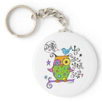 Whimsical Owl Illustration Keychain