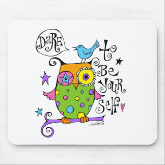 Whimsical Owl Illustration Mouse Pads