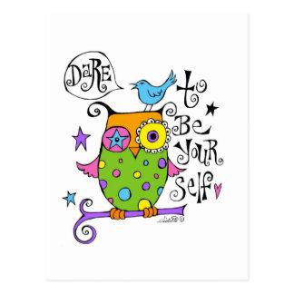 Whimsical Owl Illustration Postcard