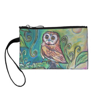 Whimsical Owl Key Coin Clutch