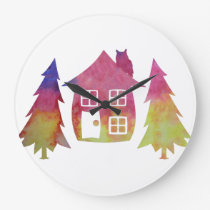Whimsical Owl Large Clock