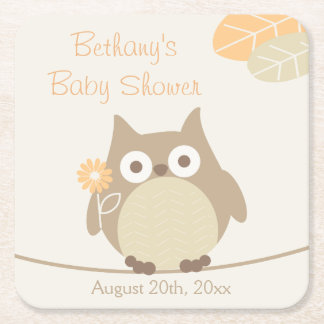 Whimsical Owl Neutral Gender Baby Shower Square Paper Coaster