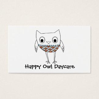 Whimsical Owl Orange Blue Black Woodland Creatures Business Card