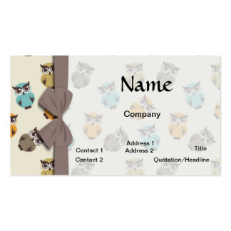 whimsical owl pattern business cards