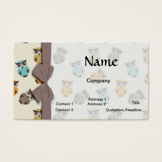 whimsical owl pattern business card