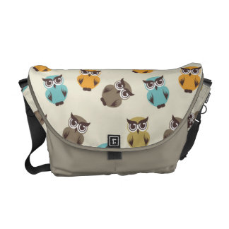whimsical owl pattern messenger bag