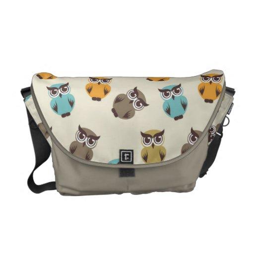 whimsical owl pattern messenger bag