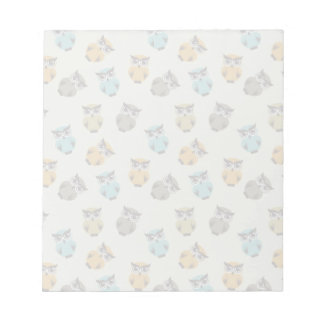 whimsical owl pattern notepad