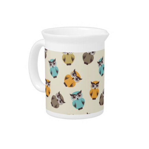 whimsical owl pattern pitcher