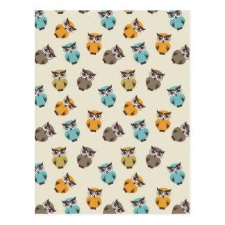 whimsical owl pattern postcard