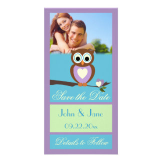 """Whimsical Owl  /photo  """"Save the Date"""" Photo Card Template"""