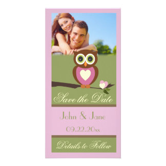 """Whimsical Owl  /photo  """"Save the Date"""" Customized Photo Card"""