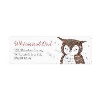 Whimsical Owl Return Address Label