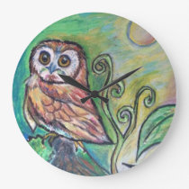 Whimsical Owl Wall Clock