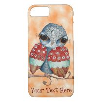 Whimsical Owl with Attitude Orange iPhone 7 Case