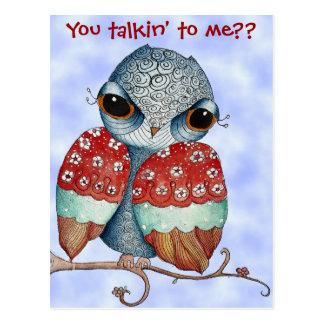 Whimsical Owl with Attitude Postcard