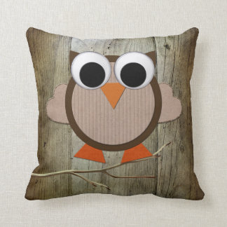 Whimsical Owl & Wood Throw Pillow