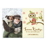 """Whimsical Owls and Snowflakes Holiday Photo Card 5"""" X 7"""" Invitation Card"""