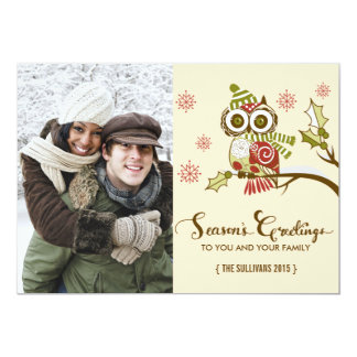 Whimsical Owls and Snowflakes Holiday Photo Card Invitations