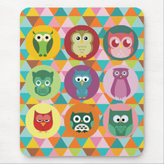 Whimsical Owls Colorful Geometric Triangles Mouse Pad