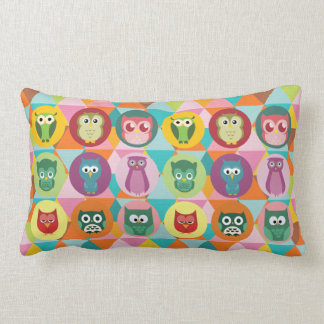 Whimsical Owls Colorful Geometric Triangles Throw Pillow