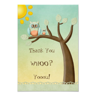 Whimsical Owls Thank You Baby Shower Card