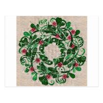 Whimsical Painted Christmas Wreath Postcard