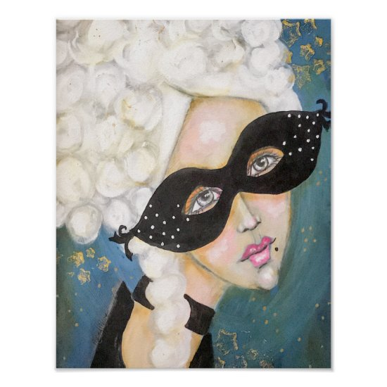 Whimsical Painting Marie Antionette Queen Blue Fun Poster