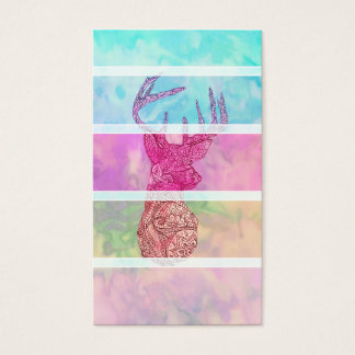 Whimsical Paisley Deer Head Summer Pastel Stripes Business Card
