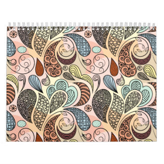 Whimsical Paisley Doodle Scribble Watercolor Calendar