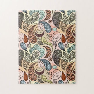 Whimsical Paisley Doodle Scribble Watercolor Jigsaw Puzzle