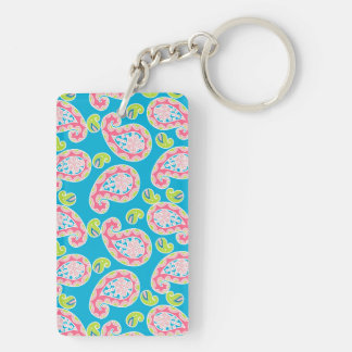 Whimsical Paisley on Blue Keychain