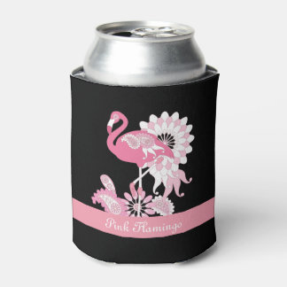 Whimsical Paisley Pink Flamingo Cool Cute Can Cooler