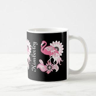 Whimsical Paisley Pink Flamingo Cool Cute Classic White Coffee Mug