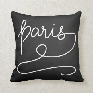 Whimsical Paris Chalkboard Casual Typography Throw Pillow