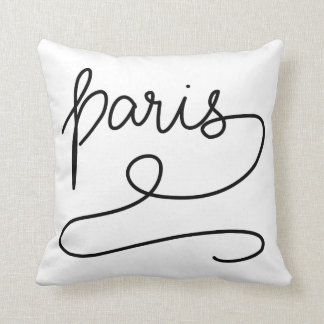 Whimsical Paris Simple Modern Casual Typography Throw Pillow
