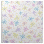 Whimsical Pastel Flowers Cloth Napkins