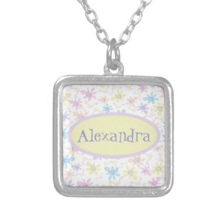 Whimsical Pastel Flowers Silver Plated Necklace