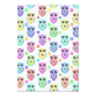"""Whimsical Pastel Owls Love Heart Floral pattern 3.5"""" X 5"""" Invitation Card"""