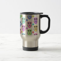 Whimsical Pastel Owls Love Heart Floral pattern Travel Mug