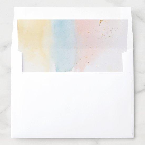 Whimsical Pastel Paint Drip Pink Gold Blue Modern Envelope Liner