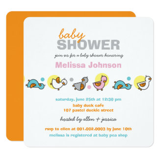 Whimsical Pastels Ducks Neutral Baby Shower Invite