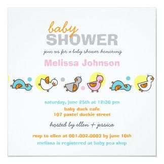 Whimsical Pastels Ducks Neutral Baby Shower Invite