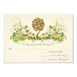 Whimsical Patchwoork Flower Tree Wedding RSVP Custom Invites