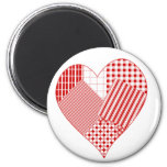 Whimsical patchwork heart 2 inch round magnet